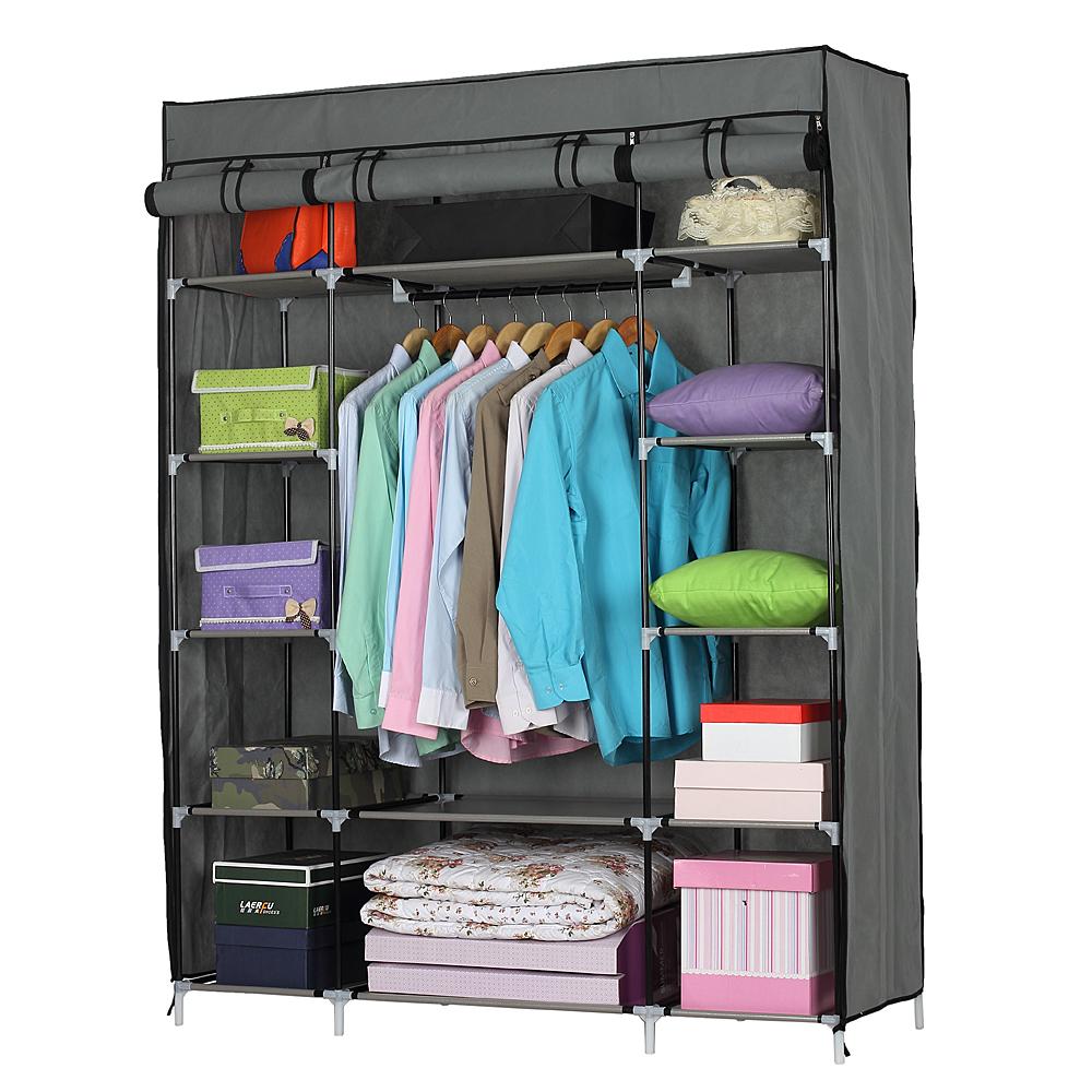 NEU Kleiderschrank 127x45x175 Schwarz Stoff Falt Schrank Wohnzimmer  Garderobe. Eigenschaften: