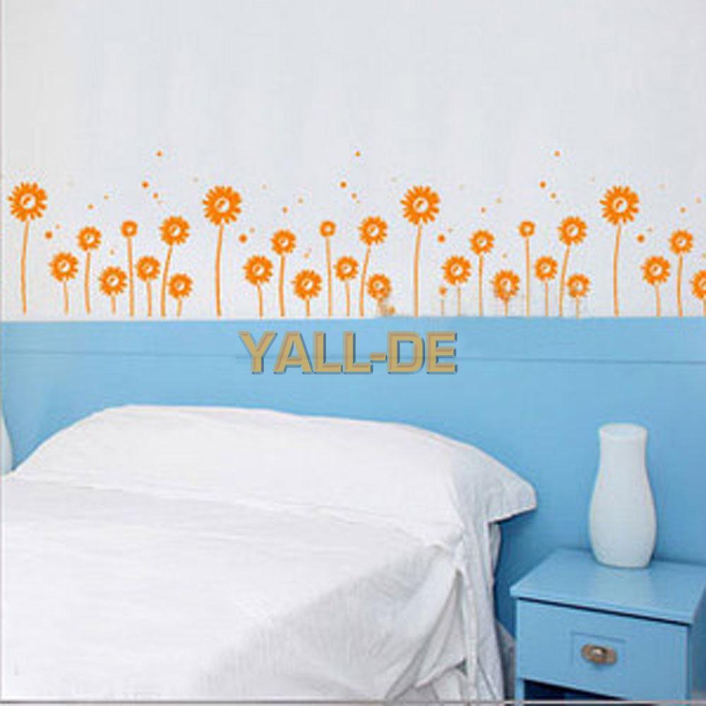 ... Gänseblümchen Muster Wand Aufkleber Orange Dekor Schlafzimmer eBay